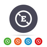 Food additive sign icon. Without E symbol. Healthy natural food. Round colourful buttons with flat icons. Vector Royalty Free Stock Photography