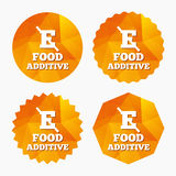 Food additive sign icon. Without E symbol. Healthy natural food. Triangular low poly buttons with flat icon. Vector Royalty Free Stock Photos