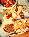 Food on Air. Strawberry, Bread, cheese, honey. Stock Photography