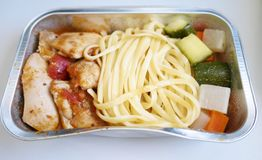 Food in aircraft Royalty Free Stock Photography