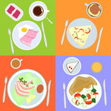 Food for all day. Set from four dishes  for all day Royalty Free Stock Photos