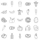 Food for All icons set, outline style. Food for All icons set. Outline set of 25 food for all vector icons for web isolated on white background Royalty Free Stock Photo