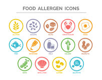Food Allergen Icons Set Royalty Free Stock Photos