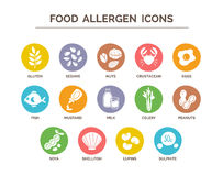 Food Allergen Icons Set Royalty Free Stock Photo