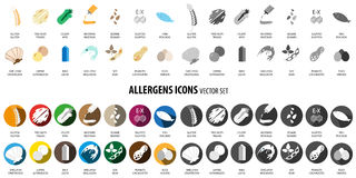 Food allergens icon set Stock Images