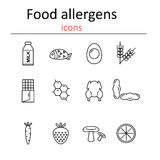 Food allergens. Icons food allergens in the style of the line. Stock Photos