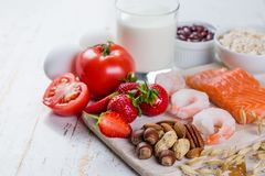 Food allergies - food concept with major allergens Royalty Free Stock Images