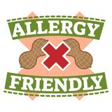 Food allergy friendly symbol badge vector illustration. With peanuts and red cross Stock Photography