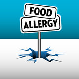 Food allergy plates. Colorful background with two plates with the text food allergy Royalty Free Stock Photo