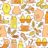 Food Allergy Seamless Pattern In Colored Line Style Stock Images