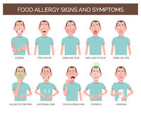 Food allergy signs and symptoms. Cartoon character showing the most common food allergy signs and symptoms. Eczema, abdominal pain, dizziness, vomiting and royalty free illustration