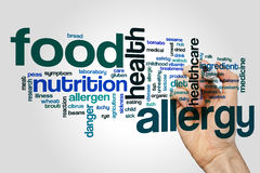 Food allergy word cloud. Concept on grey background Royalty Free Stock Photography