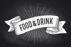 Free Food And Drink. Old School Vintage Ribbon Banner Stock Photography - 146376032