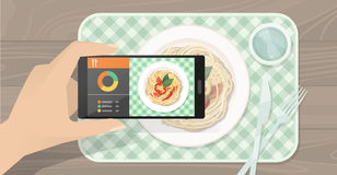 Food app. Hand holding a smartphone, viewing a dish with food and using a dieting and cooking app, augmented reality concept Stock Images