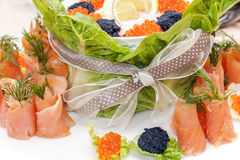 Food - appetizer plate-caviar  and fish Royalty Free Stock Photo
