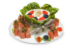 Food - appetizer plate-caviar  and fish Royalty Free Stock Photography