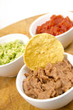 Food Appetizers Chips Salsa Refried Beans Guacamole Wood Cutting Royalty Free Stock Photos
