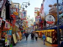 Food area in the Shinsekai area in Osaka stock images