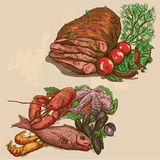 Food around the World, hand drawn and colored vect. Food and Drinks around the World (colored vector pack no.3). Collection of an hand drawn illustrations ( Royalty Free Stock Photos