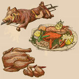 Food around the World, hand drawn and colored vector Royalty Free Stock Images