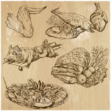Food around the World, hand drawn vector set. Food and Drinks around the World (vector pack no. 12). Collection of an hand drawn illustrations (originals). Each Royalty Free Stock Photography