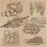 Food around the World - vector set. Hand drawn. Royalty Free Stock Images