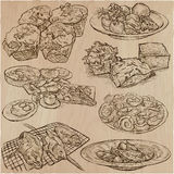 Food around the World - vector set. Hand drawn. Food around the World. International Cuisine. Restaurant menu. Collection of hand drawn vector illustrations Stock Photo