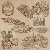 Food around the World - vector set. Hand drawn. Stock Photos