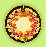 Food arranged on plate. Illustration of delicious food items arranged on a gold rimmed plate Royalty Free Stock Photo