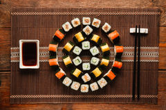 Food art, colorful ornament of sushi, flat lay Stock Images