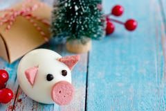Food art - edible pig from boiled egg and sausage symbol chinese New Year 2019. Food art - edible pig from boiled egg and sausage symbol chinese calendar zodiac stock photos