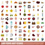 100 food art icons set, flat style. 100 food art icons set in flat style for any design vector illustration vector illustration