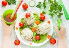 Food art idea for children dinner: steamed hedgehogs meatballs o Stock Photos
