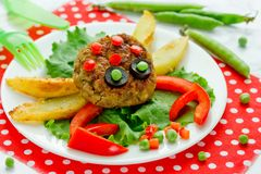 Food art idea for kids lunch - meatball with fried potato