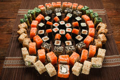 Food art, sushi roll ornament, Japanese restaurant Royalty Free Stock Images