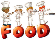 Food artwork with chefs. Illustration of the food artwork with chefs on a white background Royalty Free Stock Image