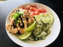 Salmon rice bowl stock photos