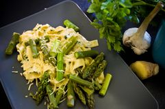 Food asparagus with italian pasta and cheese Stock Photos