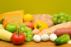 Food assortment. On green background Royalty Free Stock Photography