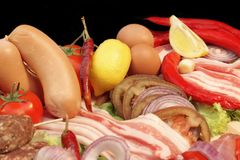 Food assortment for cooking BBQ, XXXL Stock Images