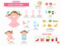 Food for baby infographic ,vector Stock Photography