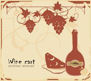 Food background. Vector drawing of menu template with wine, bread and pepper in old-fashioned style Stock Images