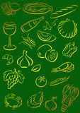 Food background. Green background with food symbols Royalty Free Stock Photos