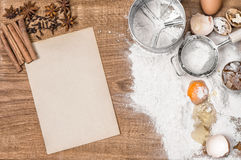 Food background. Baking tools ingredients. Recipe book. Food background. Baking tools and ingredients. Recipe book concept Royalty Free Stock Image