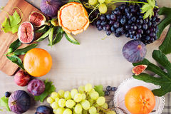 Food Background Border with Colorful Fruit. Grape, Orange, Figs and Plum. Healthy Food stock images