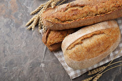 Food background with breads Royalty Free Stock Photography