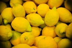 Food background. closeup on tropical fruits lemons. Stock Images