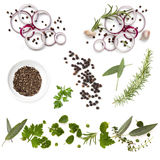 Food Background Collection Onions Herbs Peppercorns Stock Photos