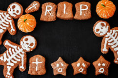 Food background with cookies in the form of monsters Royalty Free Stock Photography