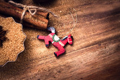 Food background with copy space. Brown sugar, anise star and cinnamon sticks on wooden background close up, still life. Food Christmas background with copy royalty free stock photos
